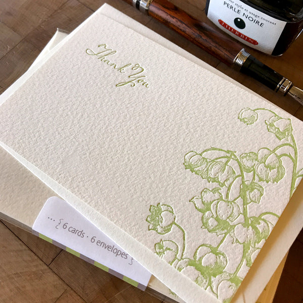 image of lily of the valley thank you letterpress flat note