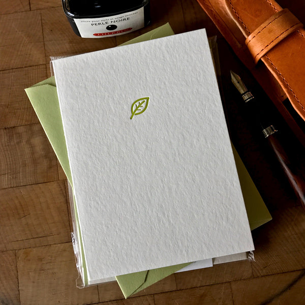 image of leaf letterpress folder note card in dark chartreuse