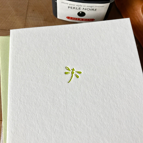 closeup of dragonfly letterpress folded note card