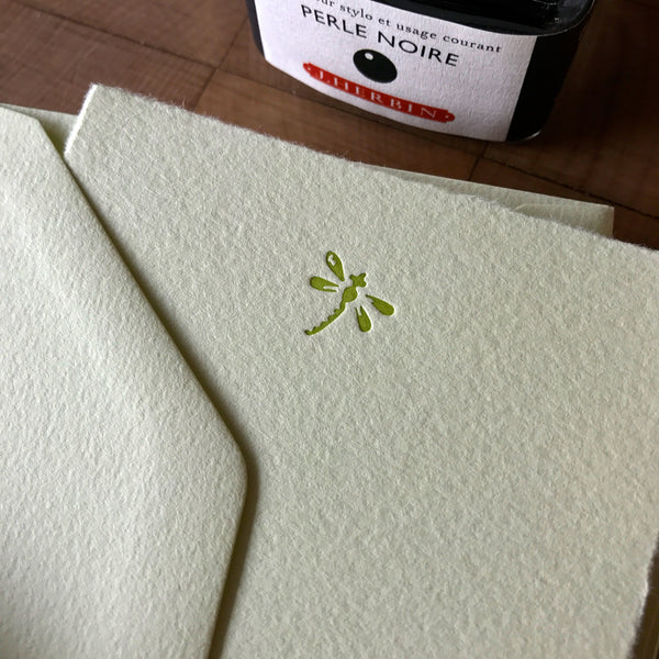 closeup of dragonfly letterpress flat note card