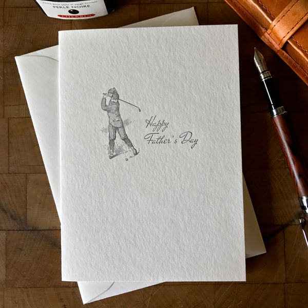 image of letterpress father's day card with old-time golfer