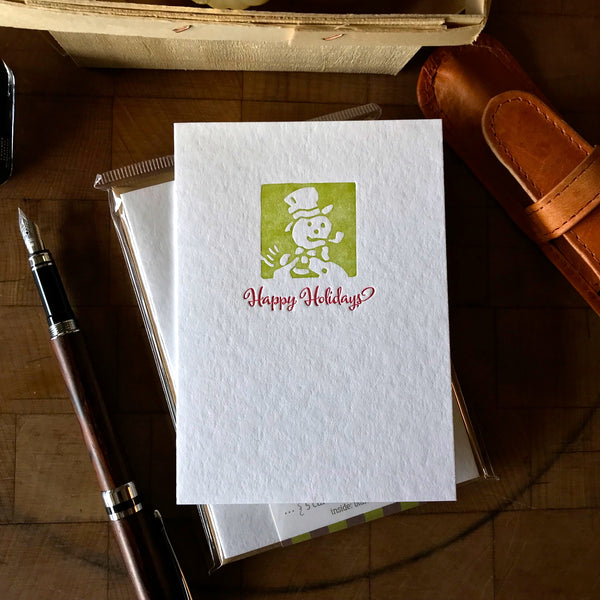 image of happy holidays letterpress card