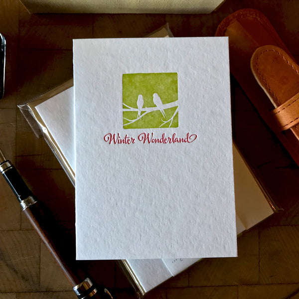 image of winter wonderland letterpress holiday card