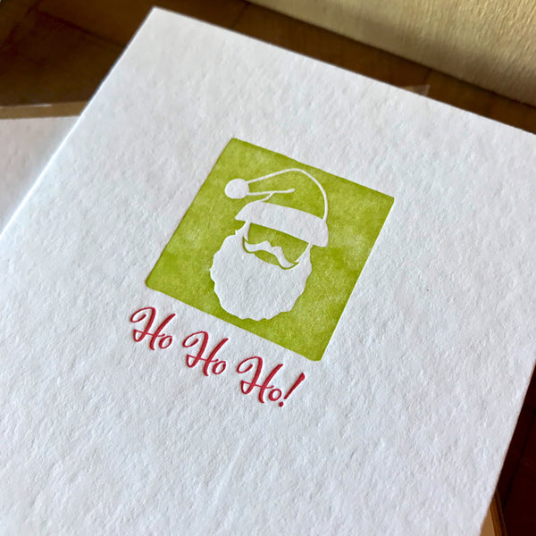 closeup of ho ho ho letterpress holiday card