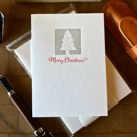 image of merry christmas letterpress card