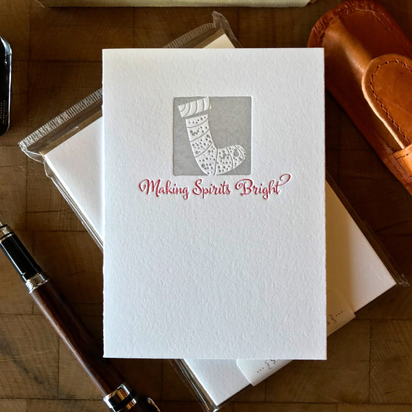 image of making spirits bright letterpress holiday card