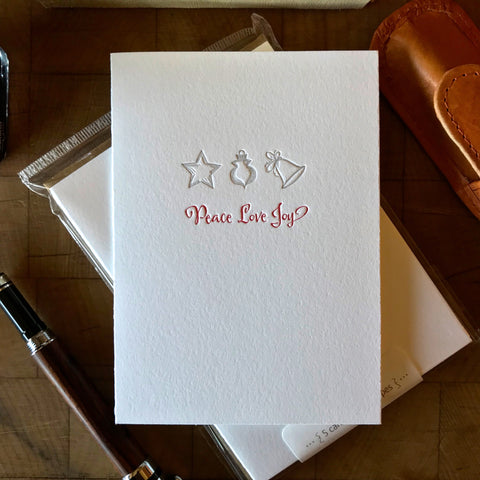 image of peace love joy letterpress holiday card
