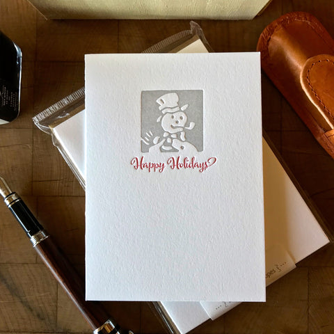image of happy holidays letterpress holiday card