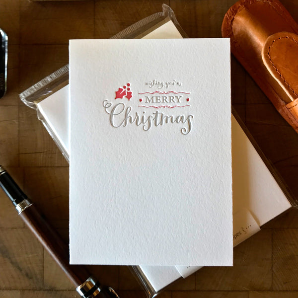 image of wishing you a merry christmas letterpress holiday card