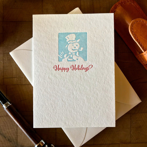 image of happy holidays letterpress card in red pepper and sky blue