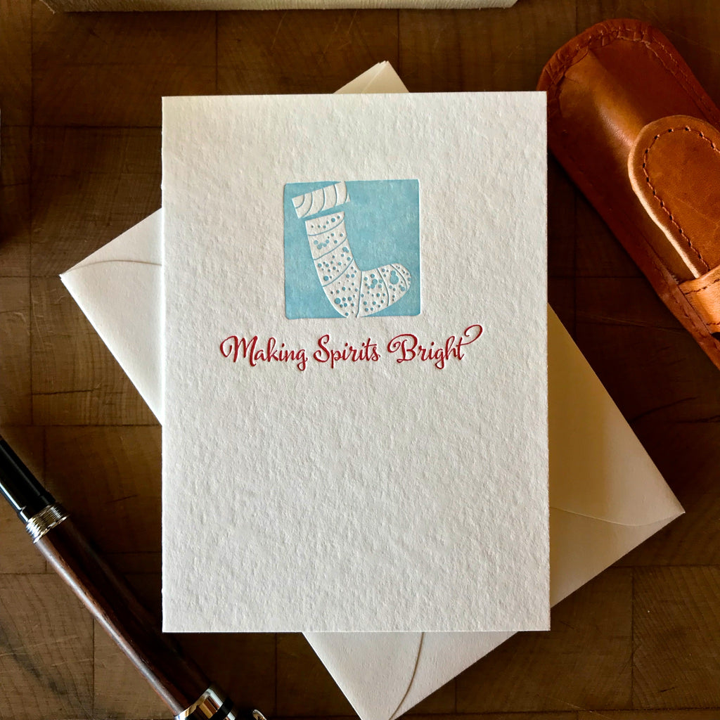 image of making spirits bright letterpress holiday card in red pepper and sky blue