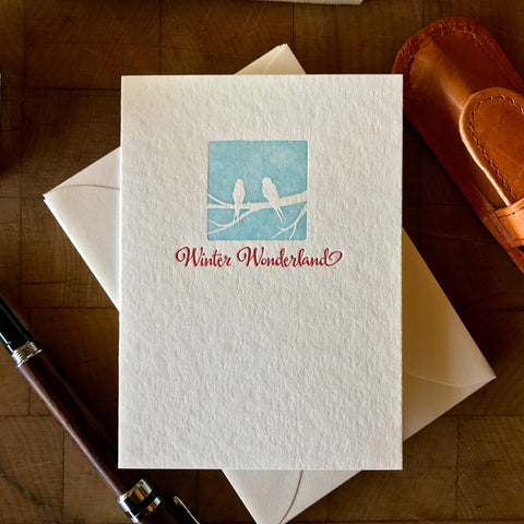 image of winter wonderland letterpress holiday card in red pepper and sky blue