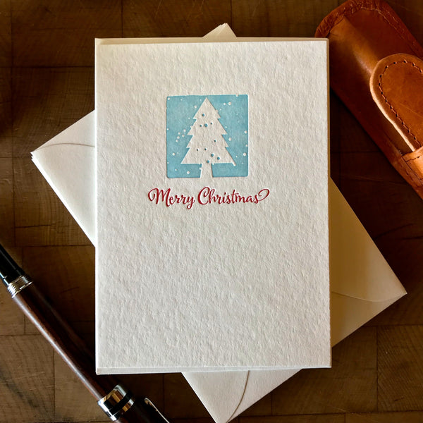 image of merry christmas letterpress holiday card in red pepper and sky blue
