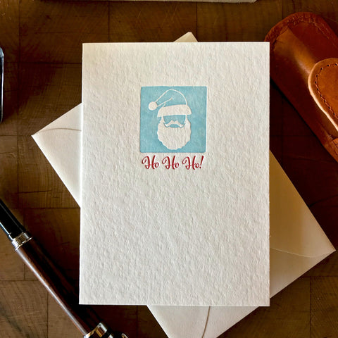 image of ho ho ho letterpress holiday card in red pepper and sky blue