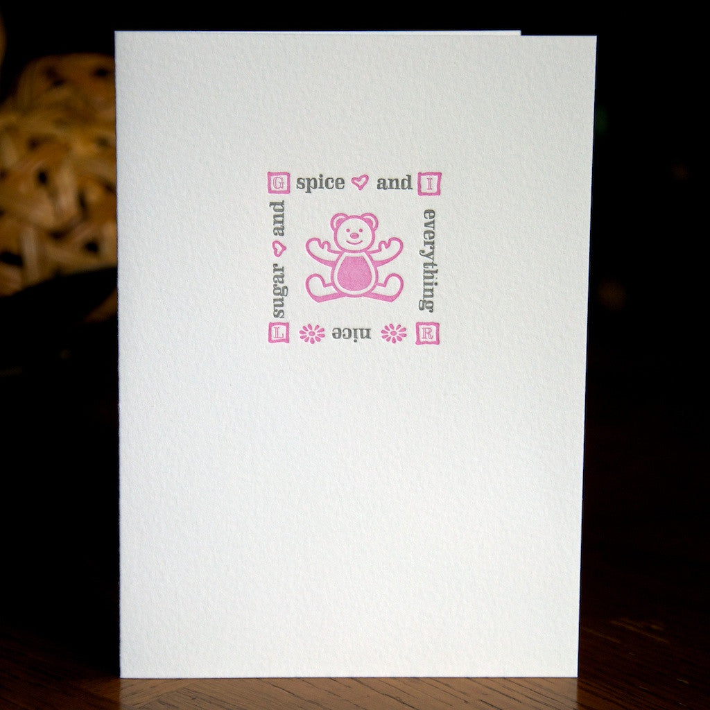 Baby girl letterpress card