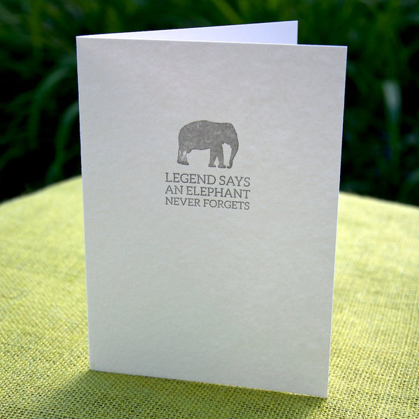 Elephant belated birthday letterpress card