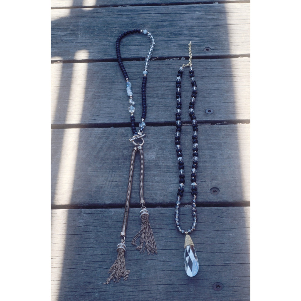 Pearl Beaded Tassel Necklace