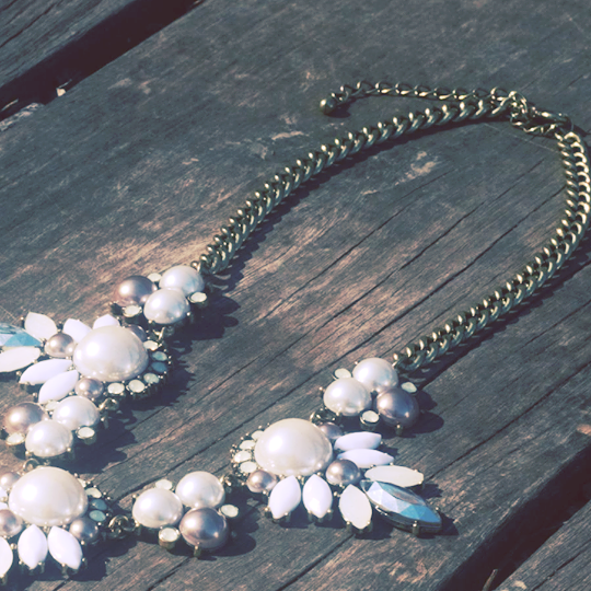 Pearl Gemstone Collar Necklace