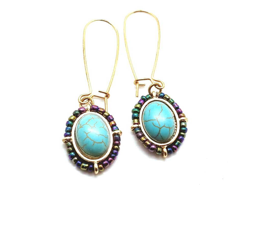 Aqua Glass Bead Drop Earrings