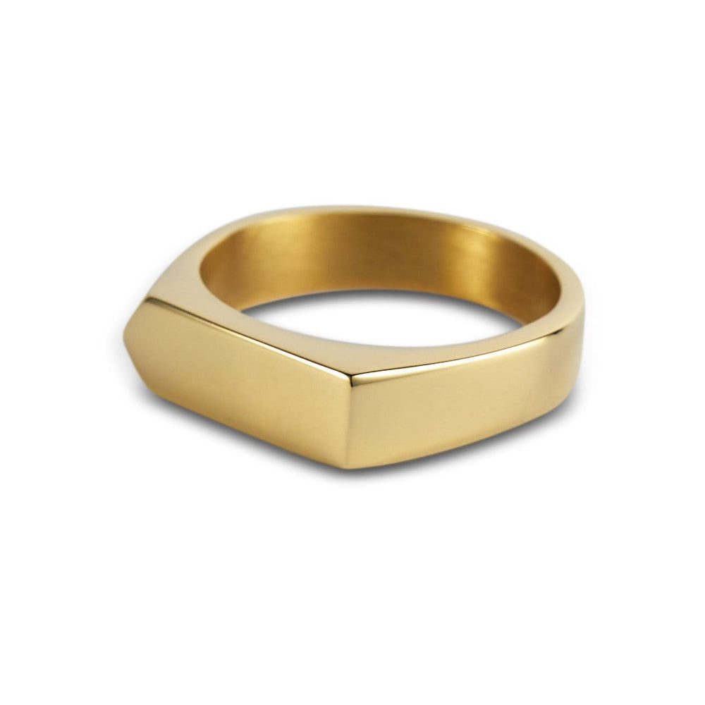 Gold Bar Signet Ring