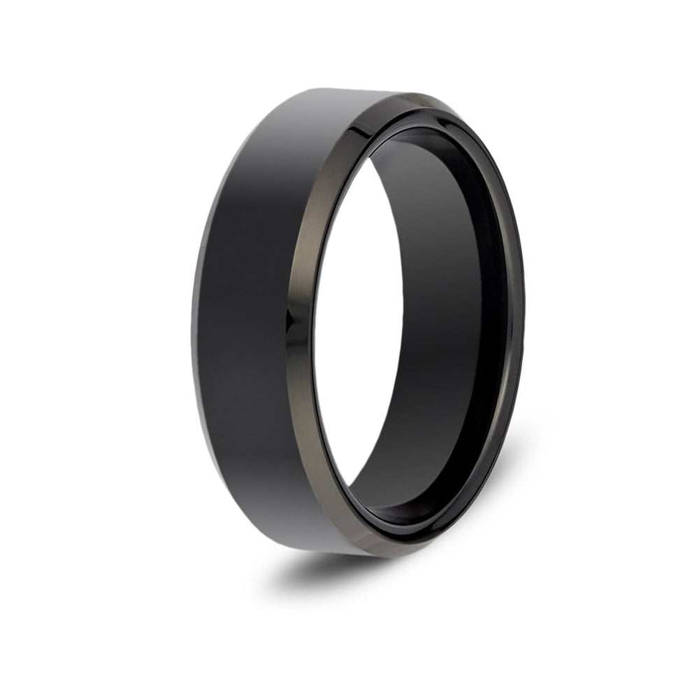 Men's Beveled Black Tungsten Ring