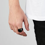 Men's Black Oval Signet Ring