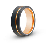 Men's Black with Rose Gold Accent Tungsten Ring