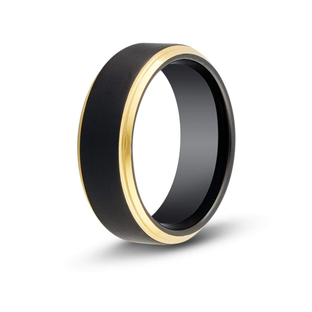 Men's Gold Edged Black Tungsten Ring