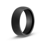 Men's Brushed Black Dome Tungsten Ring