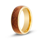 Men's Gold Whiskey Barrel Wood Inlay Ring