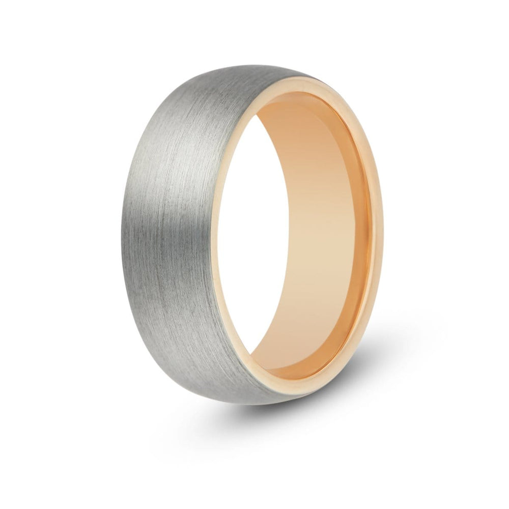 Men's Rose Gold Inlay Tungsten Ring