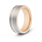 Men's Rose Gold Accent Tungsten Ring