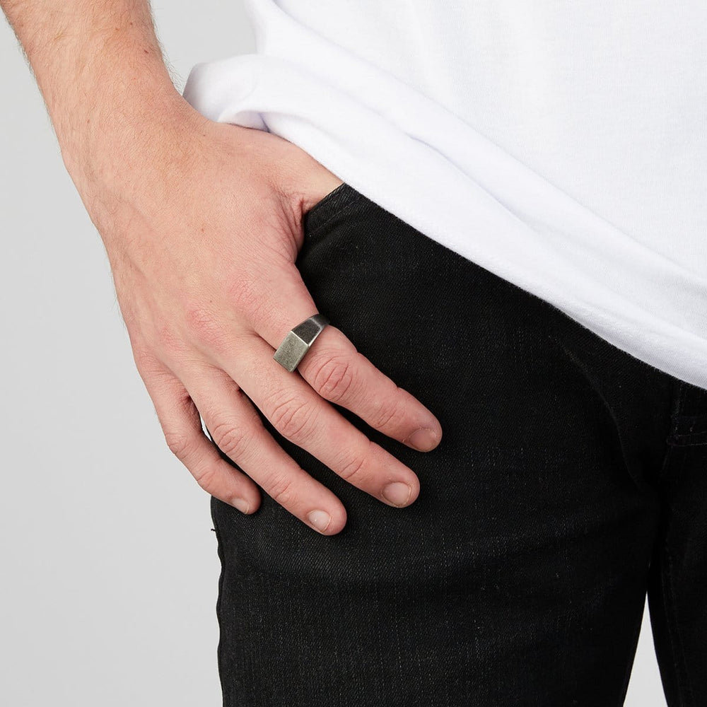 Men's Gunmetal Rectangle Signet Ring