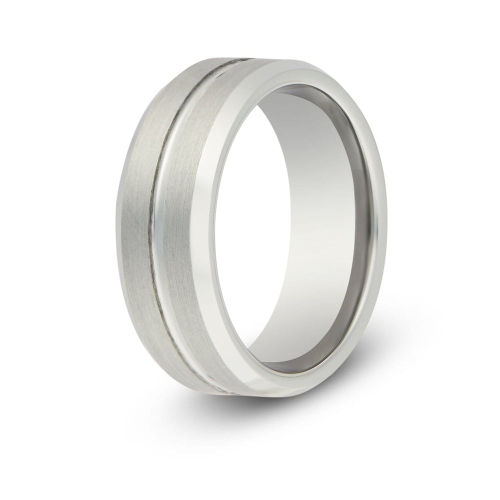 Men's Silver Groove Tungsten Ring