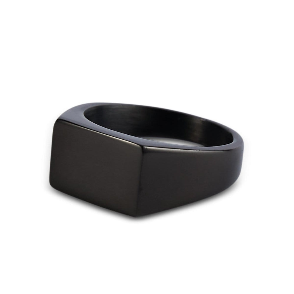 Men's Black Rectangle Signet Ring