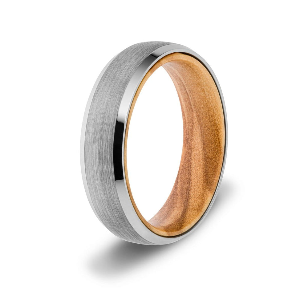 Men's 6mm Silver Wood Inlay Ring