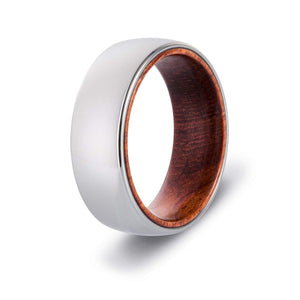 Men's Wood Inlay Tungsten Ring