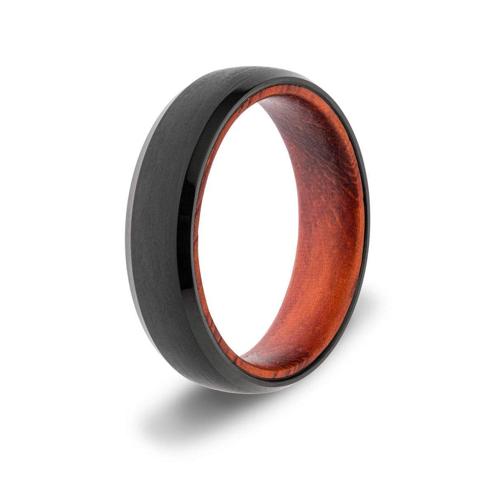 Men's 6mm Black Wood Inlay Ring