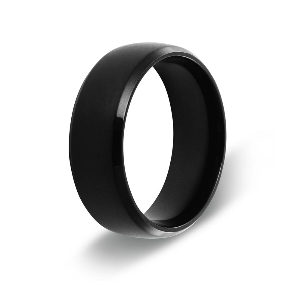 Men's Beveled Edge Black Titanium Ring