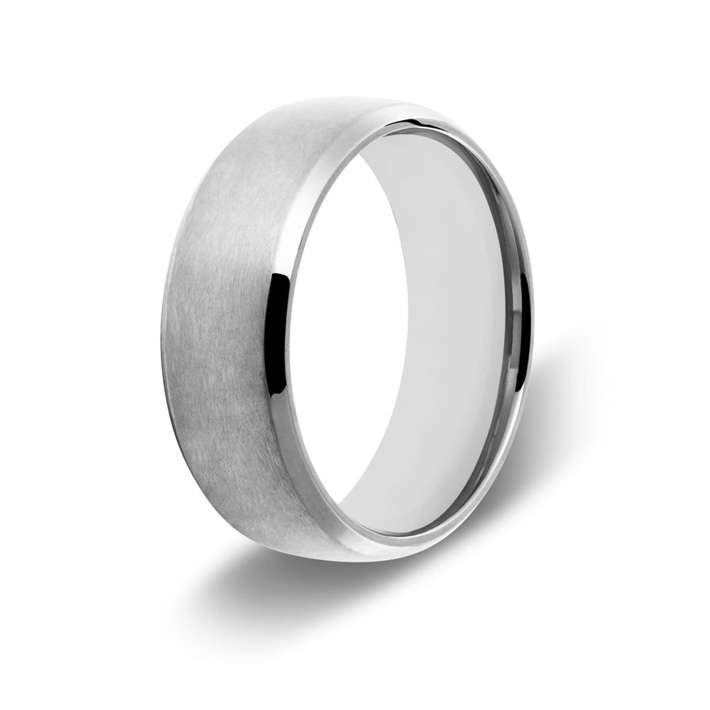Men's Beveled Edge Silver Titanium Ring