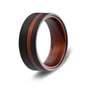 Men's Tungsten Ring with Wood Accent