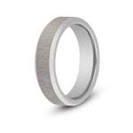 Men's Brushed Silver Beveled Tungsten Ring