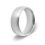 Men's Brushed Silver Dome Titanium Ring