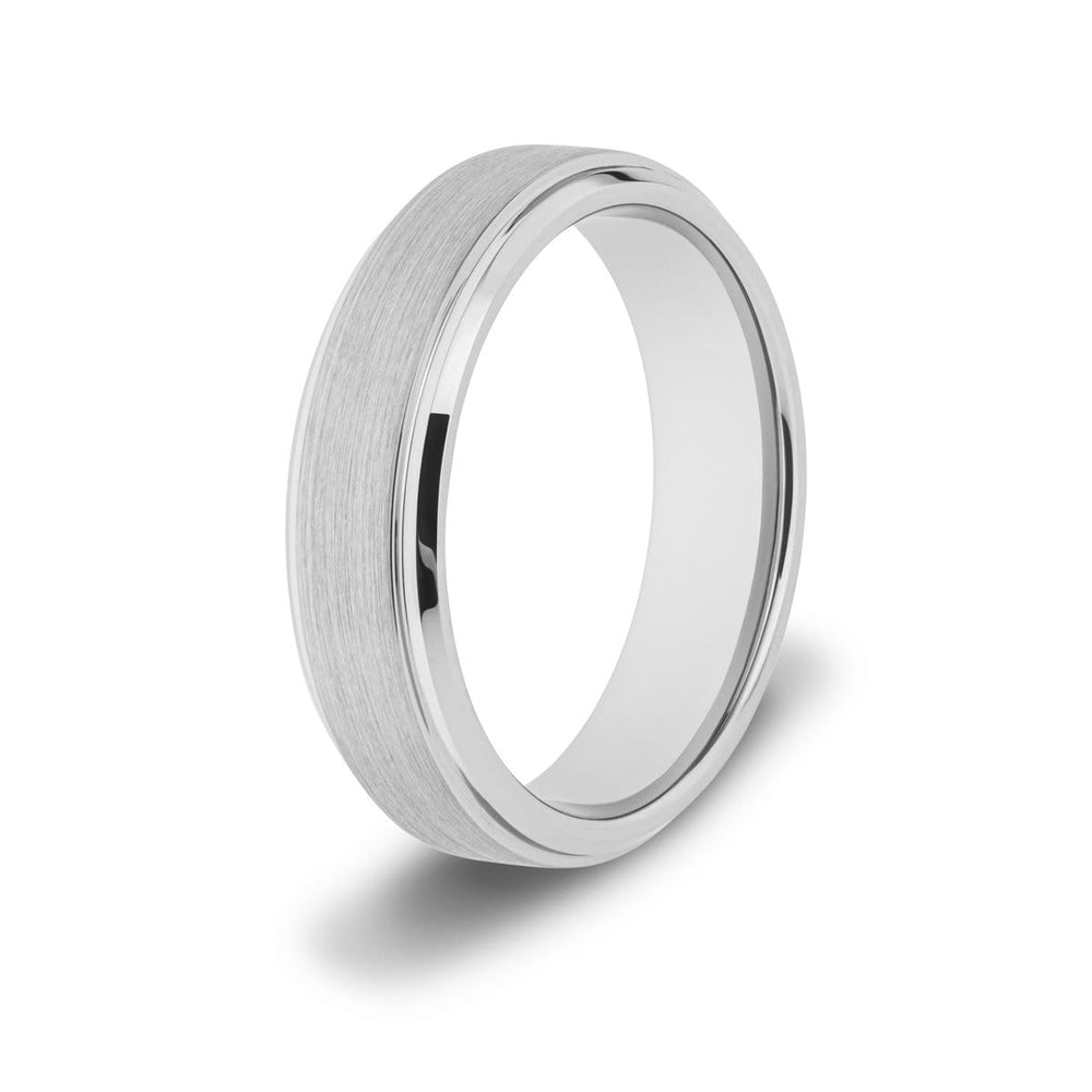 Men's Brushed Silver Tungsten Ring