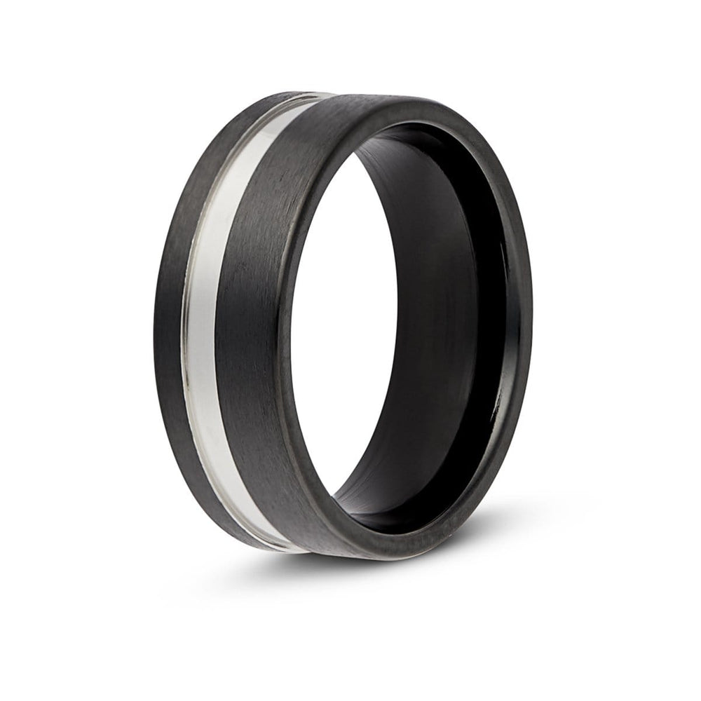 Men's Silver Striped Black Titanium Ring