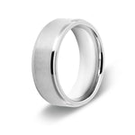 Men's Stepped Edge Silver Titanium Ring