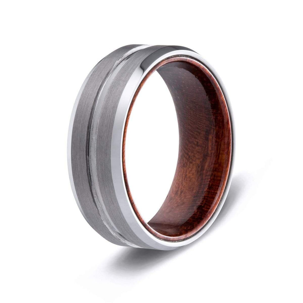 Men's Wood Inlay Groove Ring