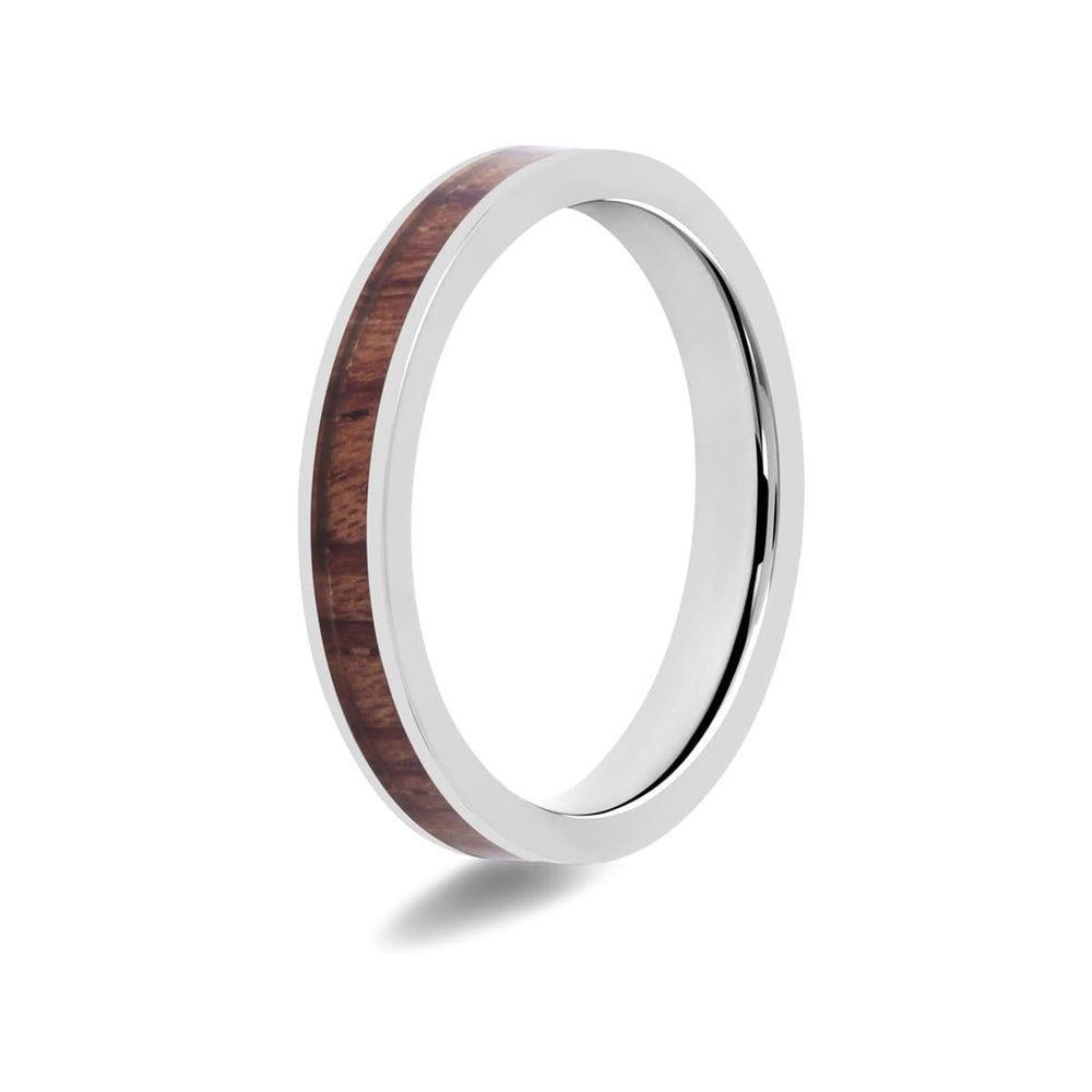 Women's Koa Wood Inlay Titanium Ring
