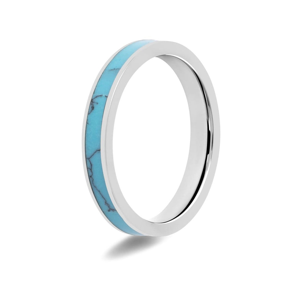 Women's Turquoise Inlay Titanium Ring