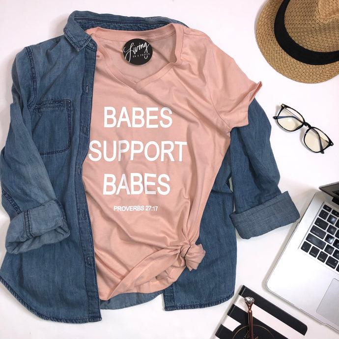 BABES SUPPORT BABES V-Neck Tee - Living On A Prayer Boutique
